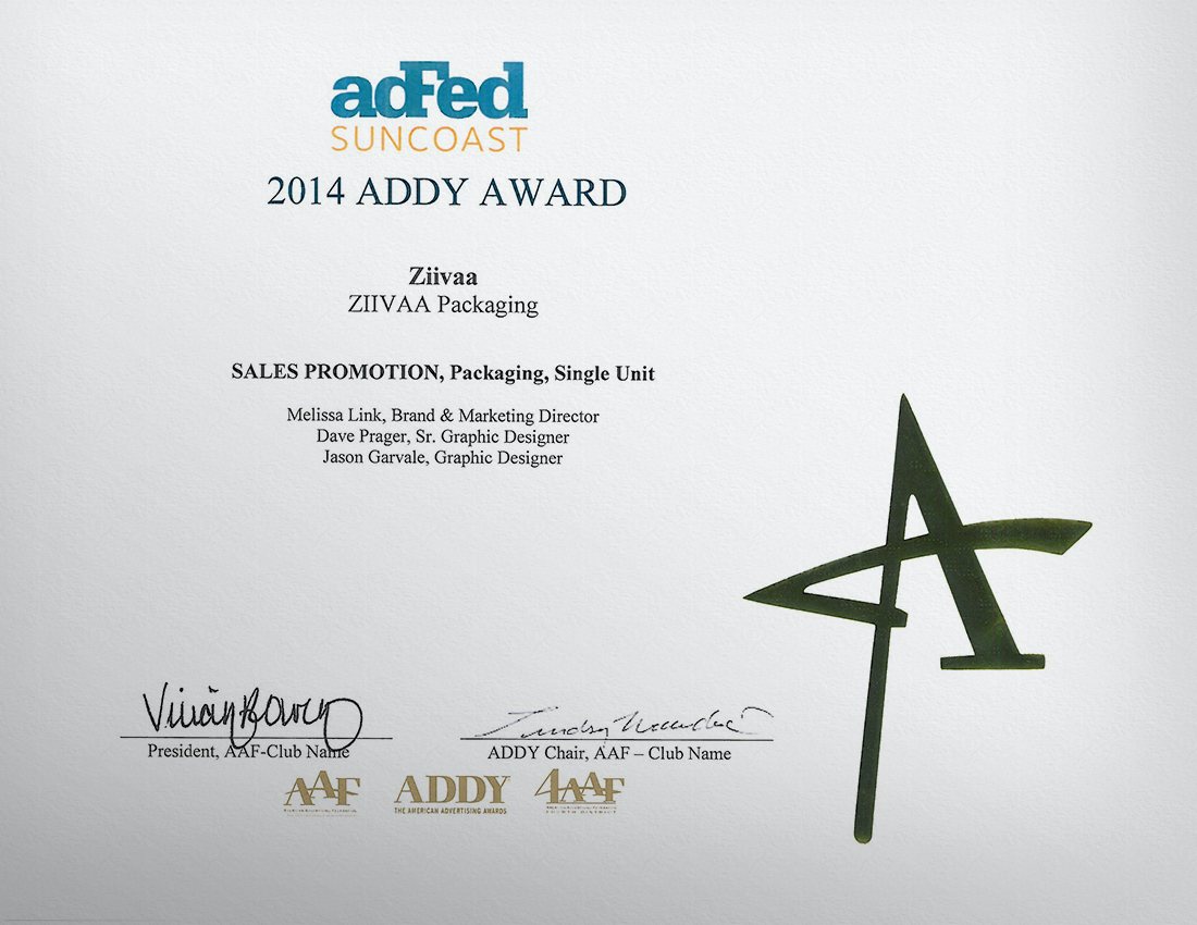 Ziivaa Packaging Wins Gold Addy Award!
